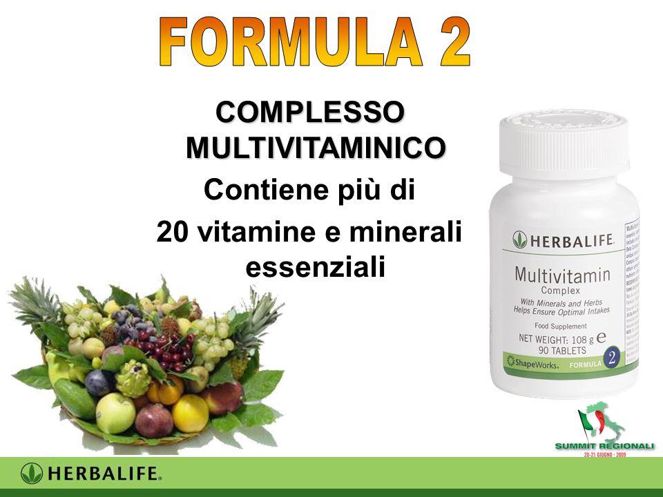 COMPLESSO MULTIVITAMINICO Contiene più di 20 vitamine e minerali essenziali