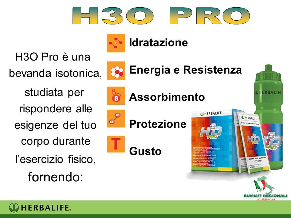 H3O Pro è una bevanda isotonica, studiata per rispondere alle esigenze del tuo corpo durante l'esercizio fisico, fornendo: Idratazione Energia e Resistenza Assorbimento Protezione Gusto