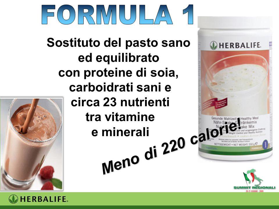 Sostituto del pasto sano ed equilibrato con proteine di soia, carboidrati sani e circa 23 nutrienti tra vitamine e minerali Meno di 220 calorie!