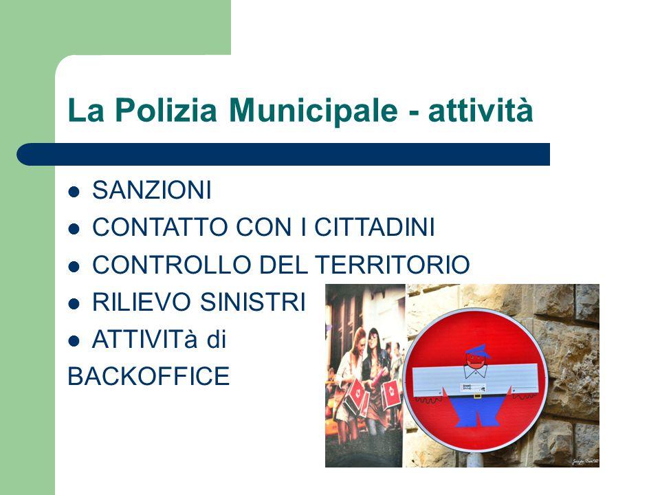 La Polizia Municipale - attività SANZIONI CONTATTO CON I CITTADINI CONTROLLO DEL TERRITORIO RILIEVO SINISTRI ATTIVITà di BACKOFFICE