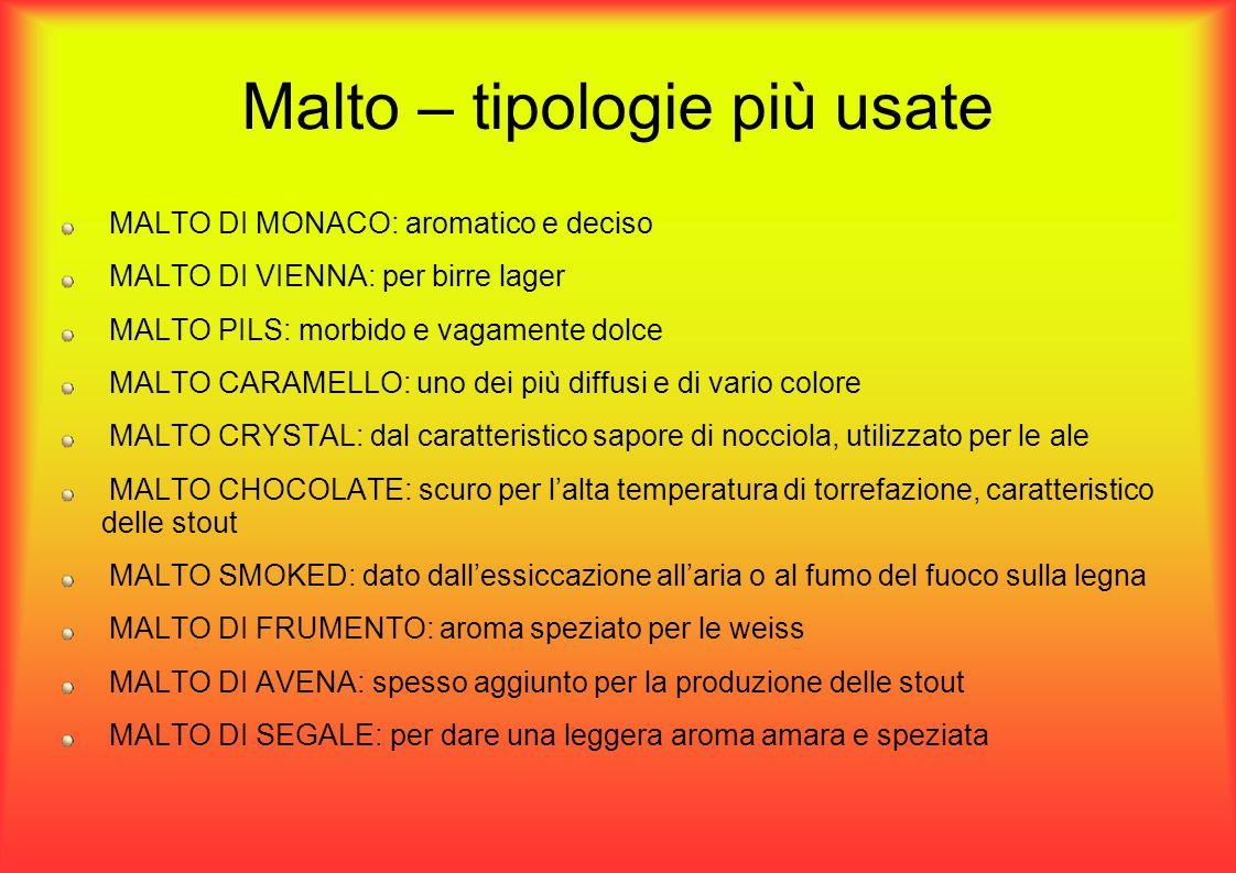Malto – tipologie più usate MALTO DI MONACO: aromatico e deciso MALTO DI VIENNA: per birre lager MALTO PILS: morbido e vagamente dolce MALTO CARAMELLO