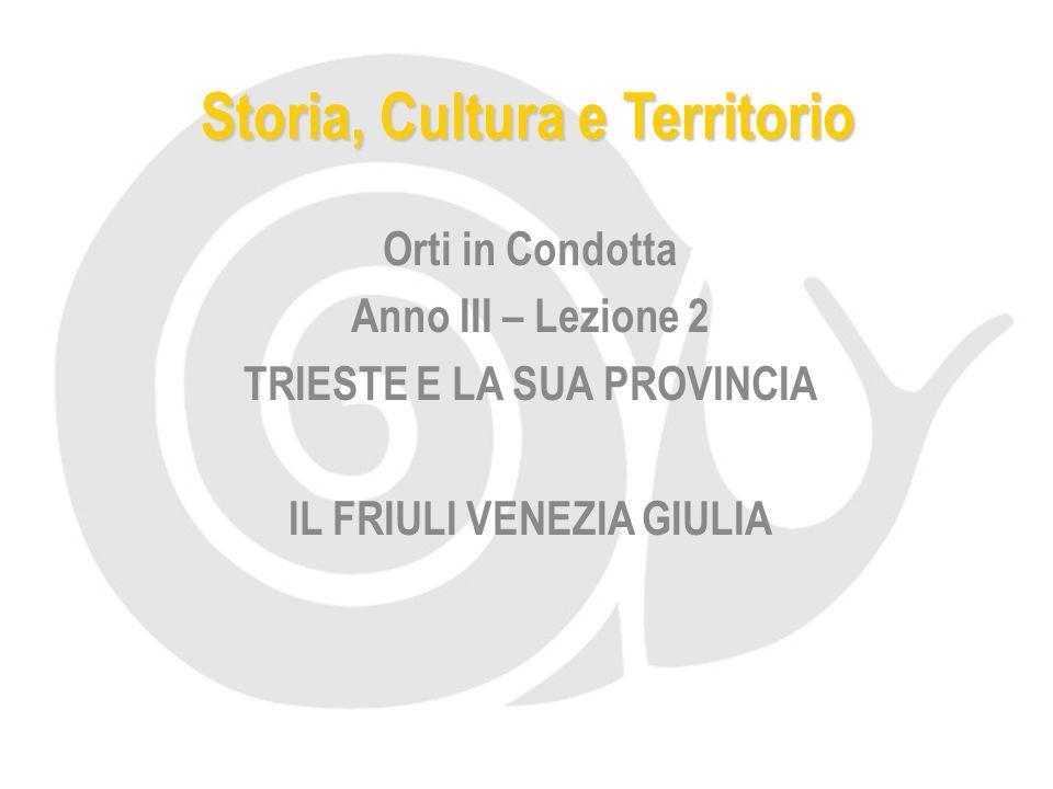 Storia, Cultura e Territorio Orti in Condotta Anno III – Lezione 2 TRIESTE E LA SUA PROVINCIA IL FRIULI VENEZIA GIULIA