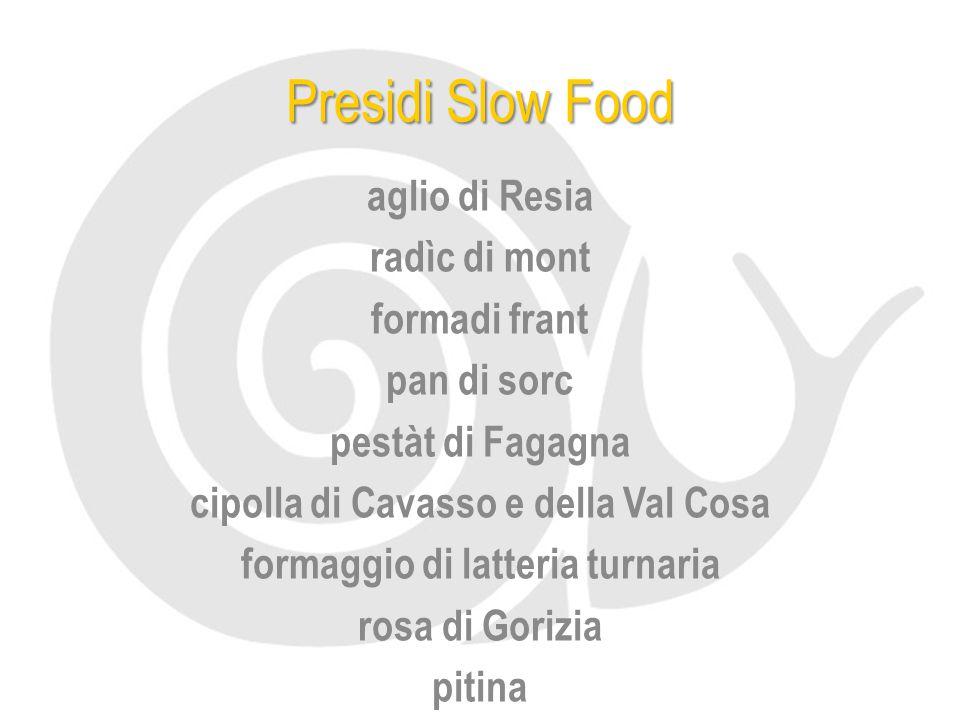 Presidi Slow Food aglio di Resia radìc di mont formadi frant pan di sorc pestàt di Fagagna cipolla di Cavasso e della Val Cosa formaggio di latteria t