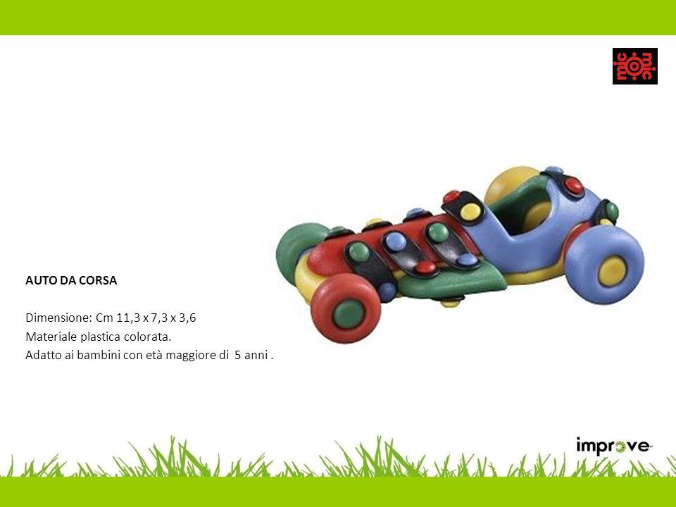 AUTO DA CORSA Dimensione: Cm 11,3 x 7,3 x 3,6 Materiale plastica colorata. Adatto ai bambini con età maggiore di 5 anni.