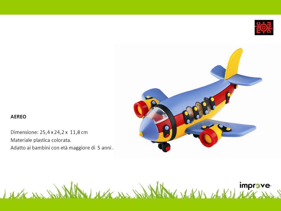 AEREO Dimensione: 25,4 x 24,2 x 11,8 cm Materiale plastica colorata. Adatto ai bambini con età maggiore di 5 anni.