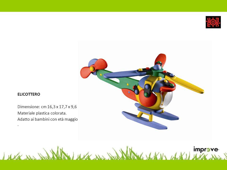 ELICOTTERO Dimensione: cm 16,3 x 17,7 x 9,6 Materiale plastica colorata. Adatto ai bambini con età maggiore di 5 anni.