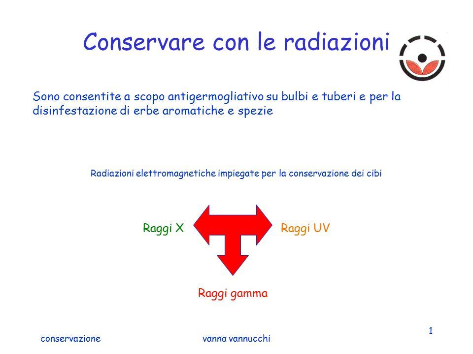 conservazionevanna vannucchi 1 Conservare con le radiazioni Sono consentite a scopo antigermogliativo su bulbi e tuberi e per la disinfestazione di er
