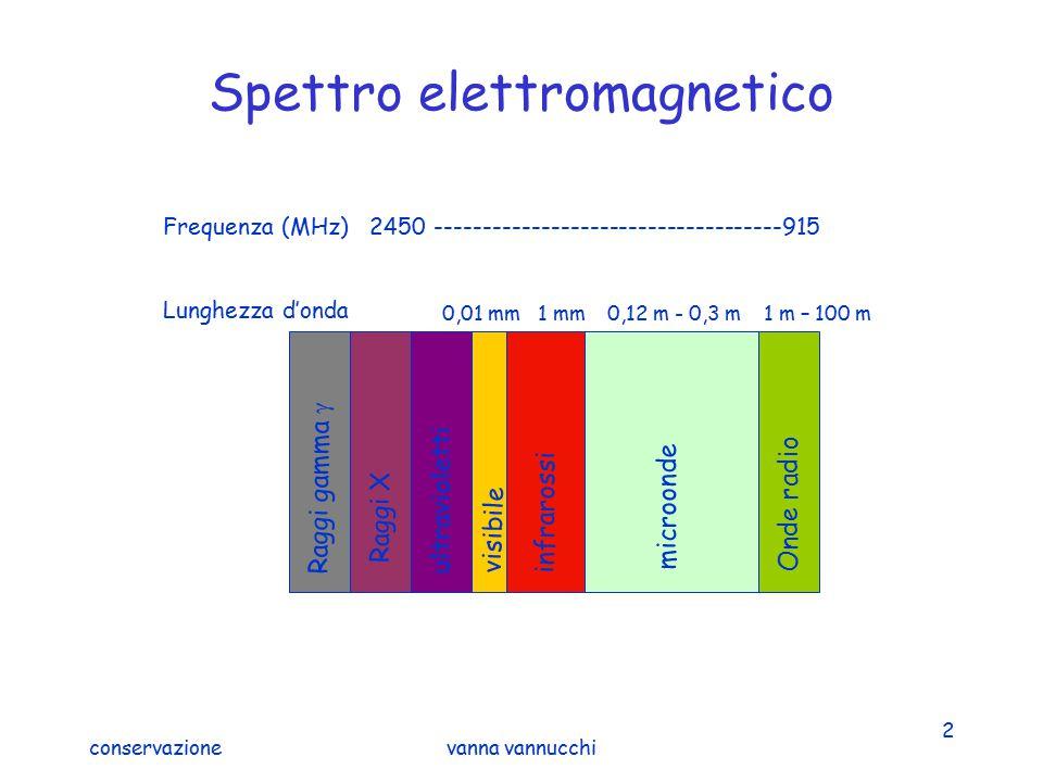 conservazionevanna vannucchi 2 Spettro elettromagnetico Raggi gamma  Raggi X ultravioletti visibile infrarossi microonde Onde radio 0,01 mm0,12 m - 0