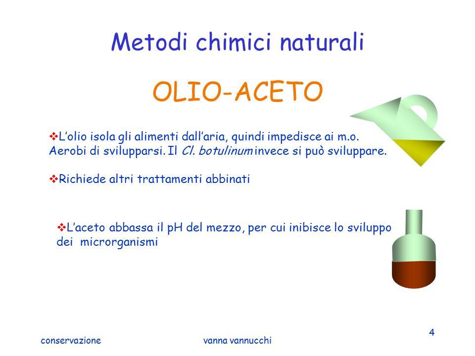 conservazionevanna vannucchi 4 Metodi chimici naturali OLIO-ACETO  L'olio isola gli alimenti dall'aria, quindi impedisce ai m.o. Aerobi di sviluppars