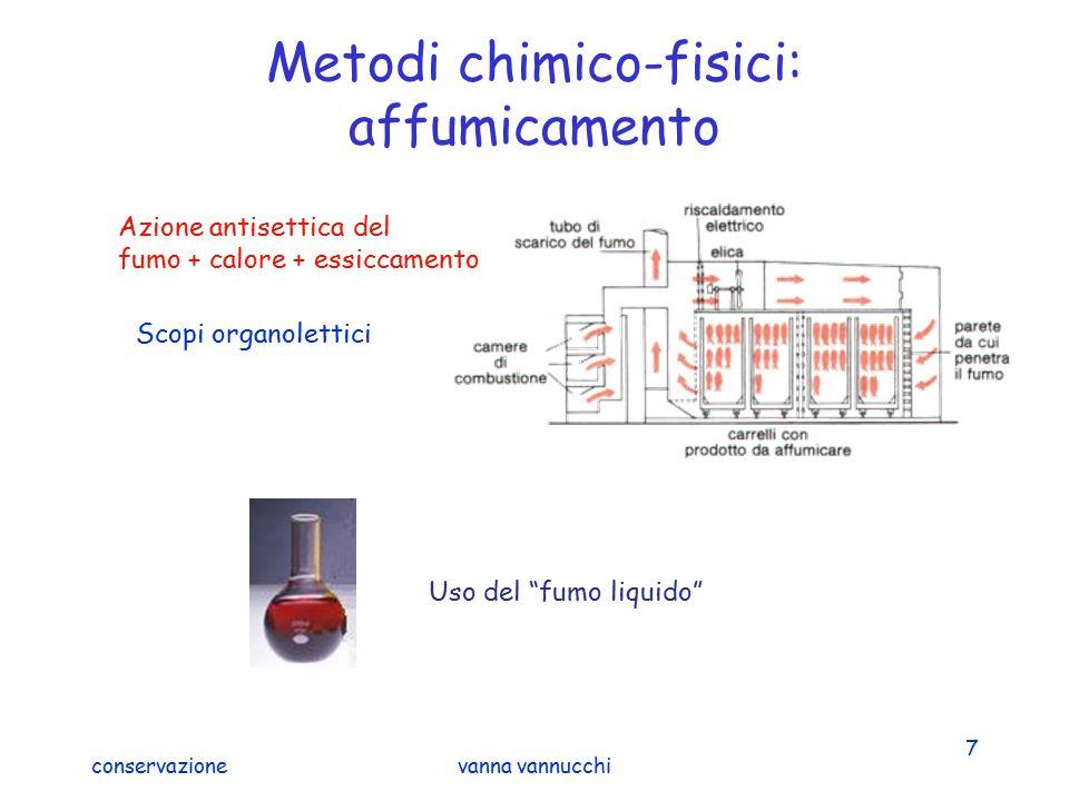 """conservazionevanna vannucchi 7 Metodi chimico-fisici: affumicamento Scopi organolettici Uso del """"fumo liquido"""" Azione antisettica del fumo + calore +"""