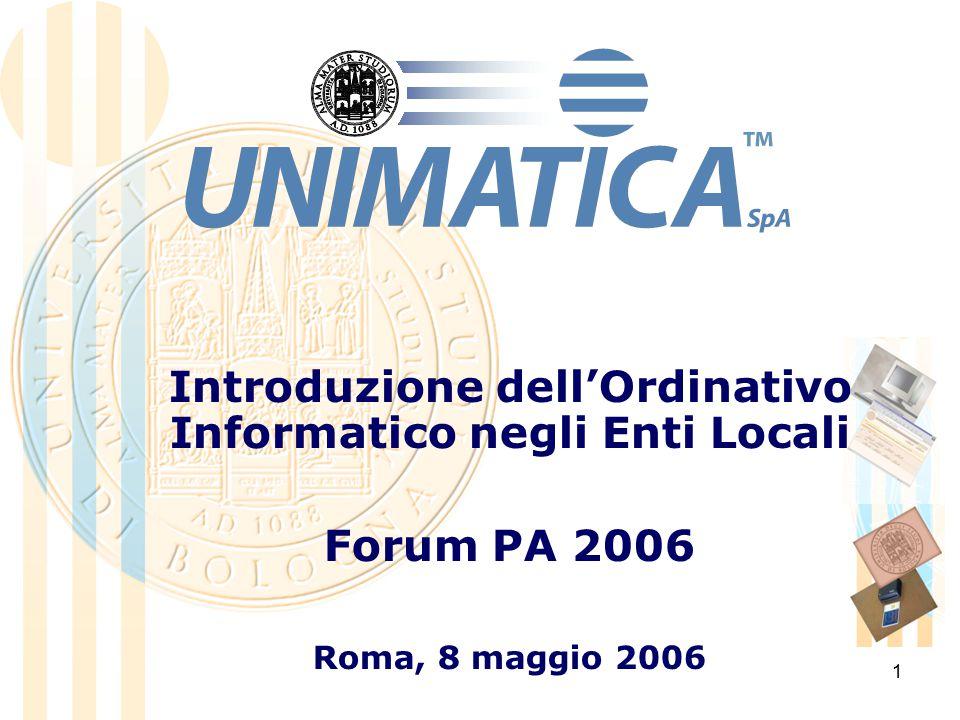 1 Introduzione dell'Ordinativo Informatico negli Enti Locali Forum PA 2006 Roma, 8 maggio 2006