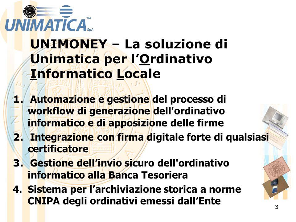3 UNIMONEY – La soluzione di Unimatica per l'Ordinativo Informatico Locale 1.