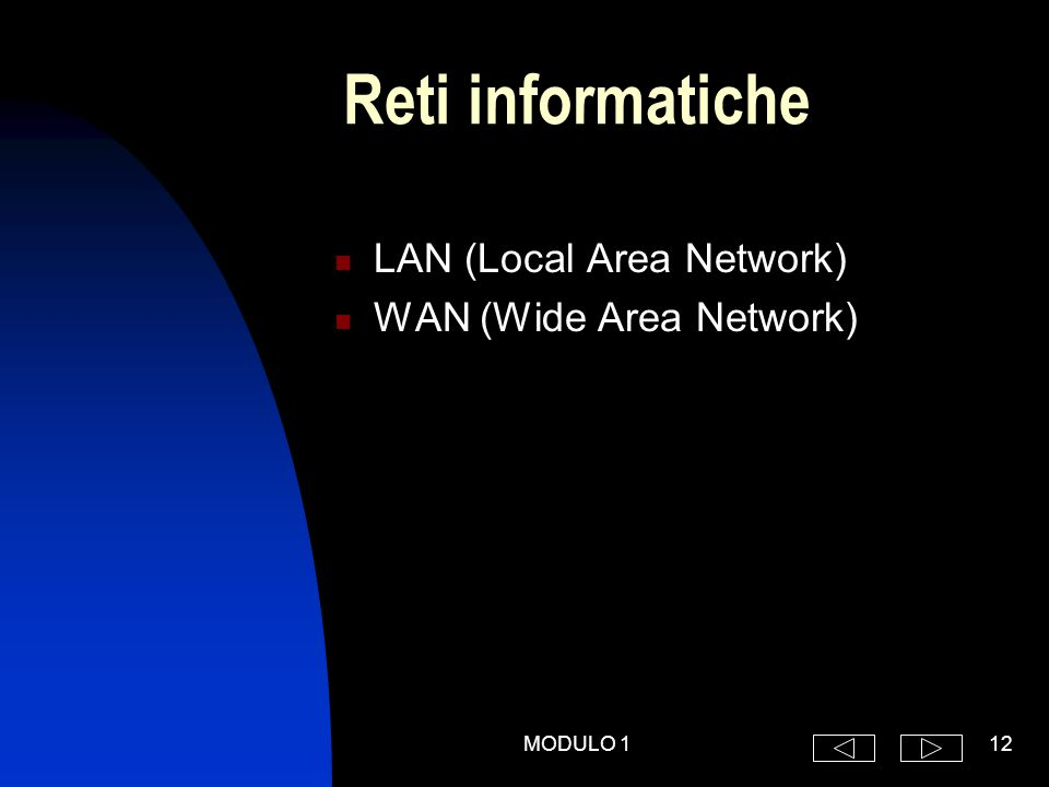 MODULO 112 Reti informatiche LAN (Local Area Network) WAN (Wide Area Network)