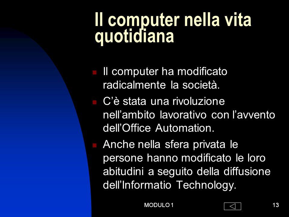 MODULO 113 Il computer nella vita quotidiana Il computer ha modificato radicalmente la società.