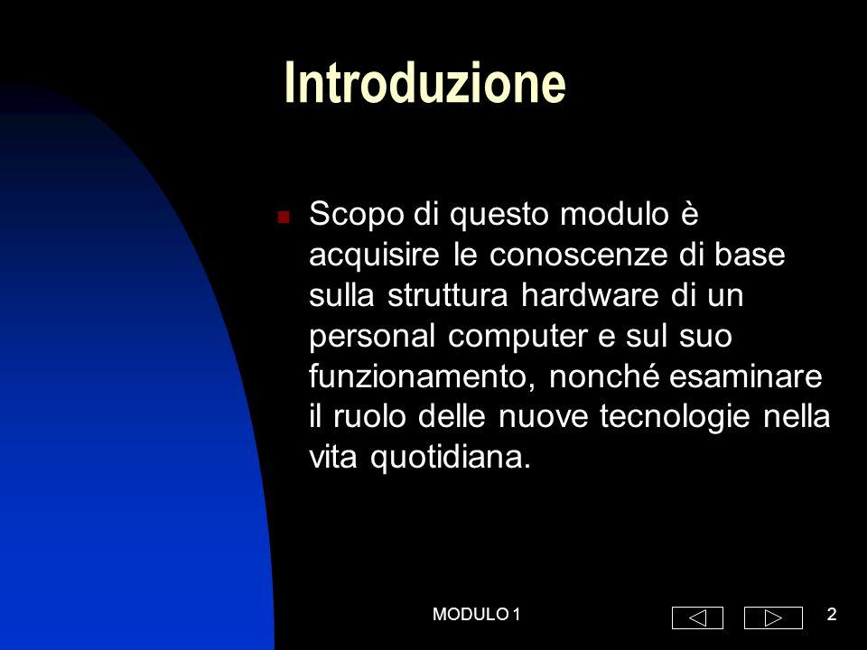 MODULO 12 Introduzione Scopo di questo modulo è acquisire le conoscenze di base sulla struttura hardware di un personal computer e sul suo funzionamento, nonché esaminare il ruolo delle nuove tecnologie nella vita quotidiana.