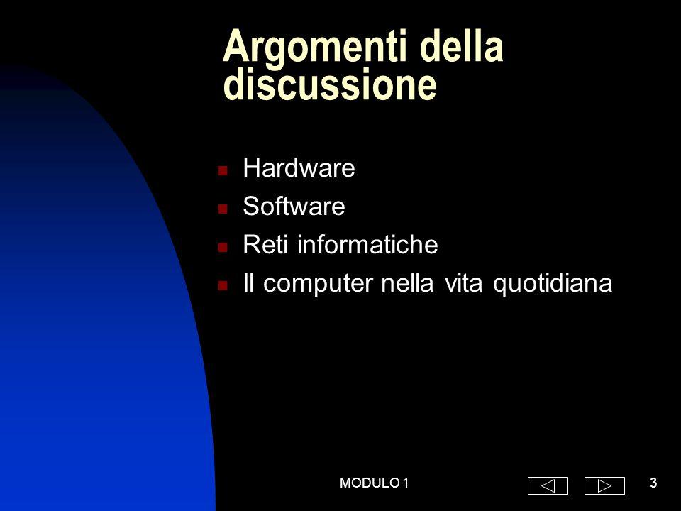 MODULO 13 Argomenti della discussione Hardware Software Reti informatiche Il computer nella vita quotidiana