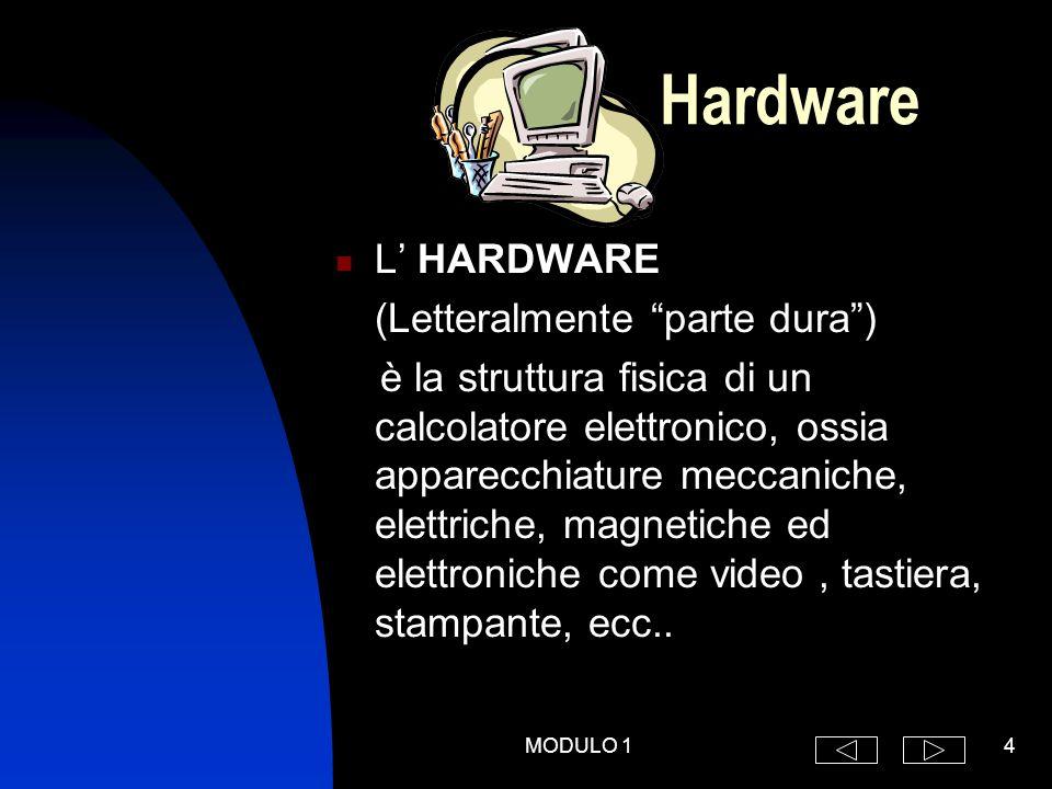 MODULO 14 Hardware L' HARDWARE (Letteralmente parte dura ) è la struttura fisica di un calcolatore elettronico, ossia apparecchiature meccaniche, elettriche, magnetiche ed elettroniche come video, tastiera, stampante, ecc..