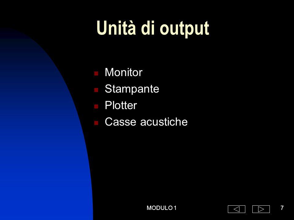 MODULO 17 Unità di output Monitor Stampante Plotter Casse acustiche