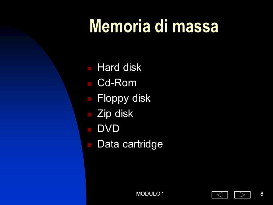 MODULO 19 Unità centrale Memoria centrale  RAM (Random Access Memory)  ROM (Read Only Memory) CPU (Central Processing Unit)  ALU (Aritmetic Logic Unit)  Unità di controllo  Memoria cache