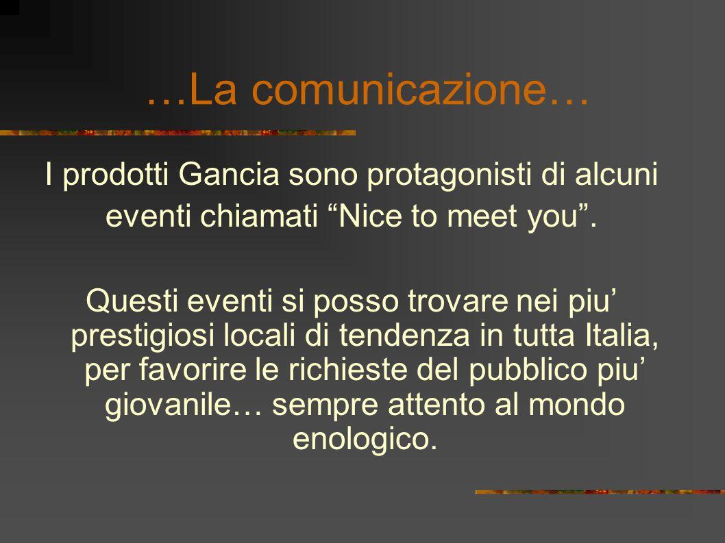 …La comunicazione… I prodotti Gancia sono protagonisti di alcuni eventi chiamati Nice to meet you .