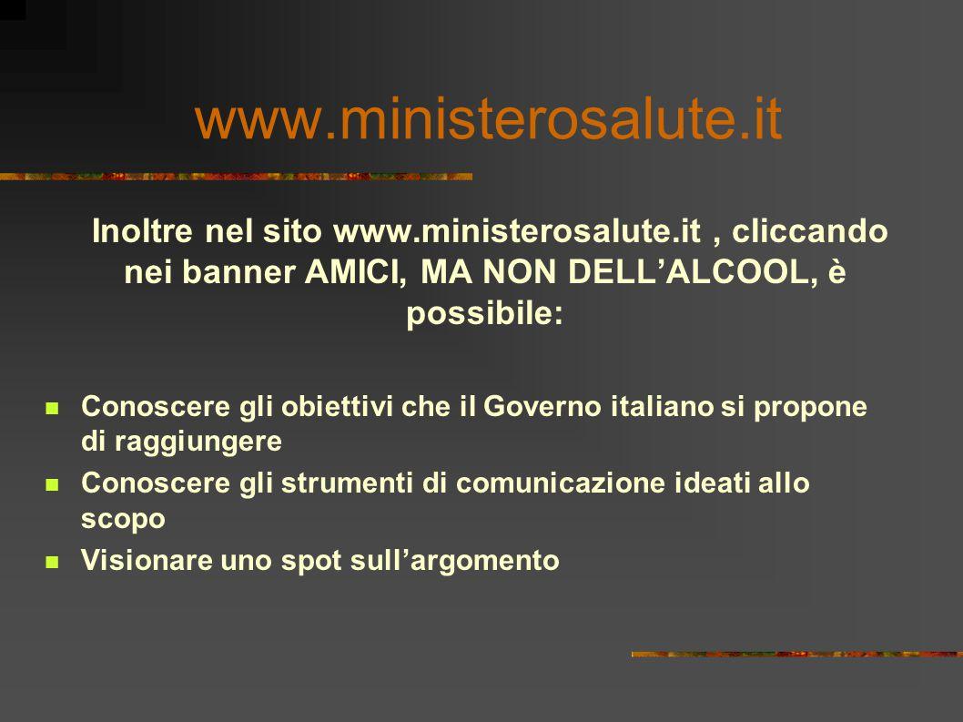 Inoltre nel sito www.ministerosalute.it, cliccando nei banner AMICI, MA NON DELL'ALCOOL, è possibile: Conoscere gli obiettivi che il Governo italiano si propone di raggiungere Conoscere gli strumenti di comunicazione ideati allo scopo Visionare uno spot sull'argomento