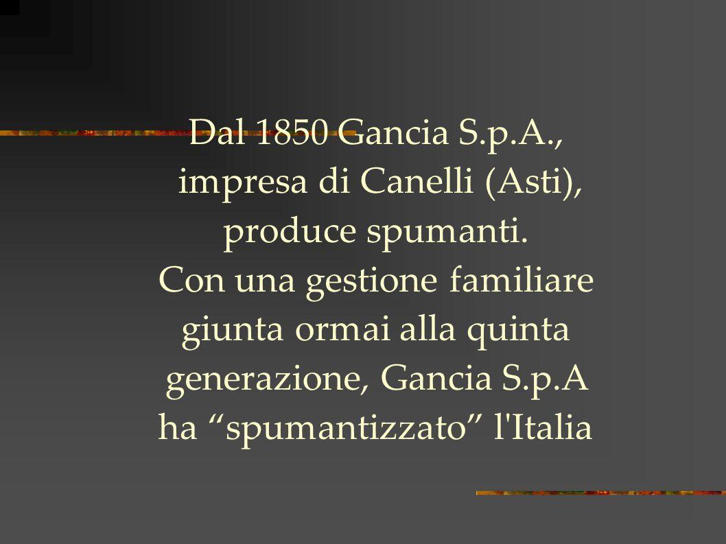 Dal 1850 Gancia S.p.A., impresa di Canelli (Asti), produce spumanti.