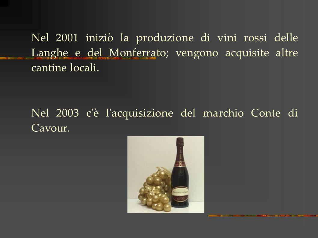Nel 2001 iniziò la produzione di vini rossi delle Langhe e del Monferrato; vengono acquisite altre cantine locali.
