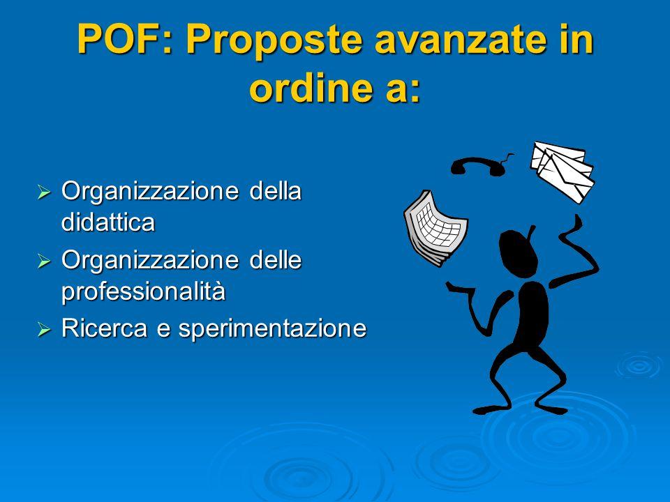 POF: Proposte avanzate in ordine a:  Organizzazione della didattica  Organizzazione delle professionalità  Ricerca e sperimentazione