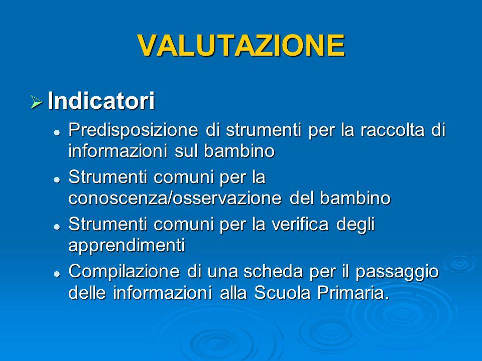 VALUTAZIONE  Indicatori Predisposizione di strumenti per la raccolta di informazioni sul bambino Predisposizione di strumenti per la raccolta di info