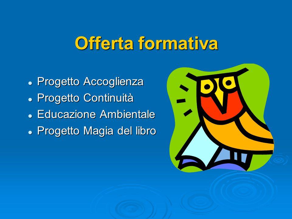 Offerta formativa Progetto Accoglienza Progetto Accoglienza Progetto Continuità Progetto Continuità Educazione Ambientale Educazione Ambientale Proget