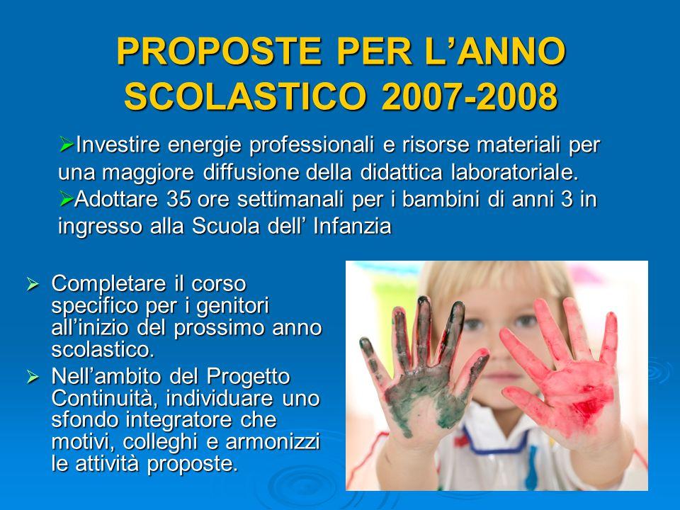 PROPOSTE PER L'ANNO SCOLASTICO 2007-2008  Completare il corso specifico per i genitori all'inizio del prossimo anno scolastico.  Nell'ambito del Pro