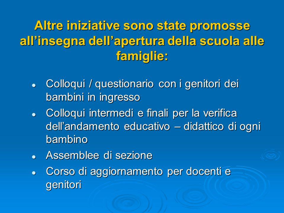 Altre iniziative sono state promosse all'insegna dell'apertura della scuola alle famiglie: Colloqui / questionario con i genitori dei bambini in ingre