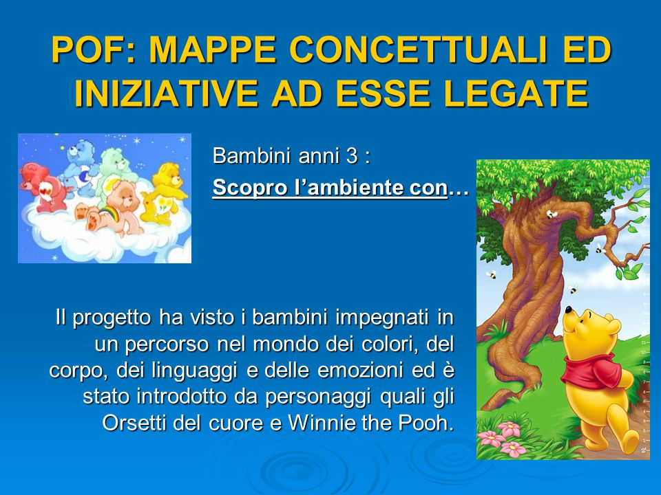 POF: MAPPE CONCETTUALI ED INIZIATIVE AD ESSE LEGATE Bambini anni 4: OCCHIO ALL'AMBIENTE!!.