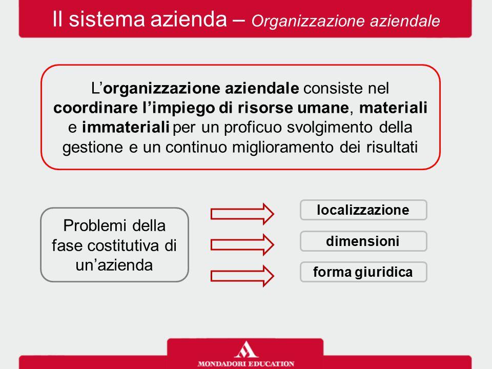 Il sistema azienda – Organizzazione aziendale Problemi della fase costitutiva di un'azienda localizzazione forma giuridica dimensioni L'organizzazione