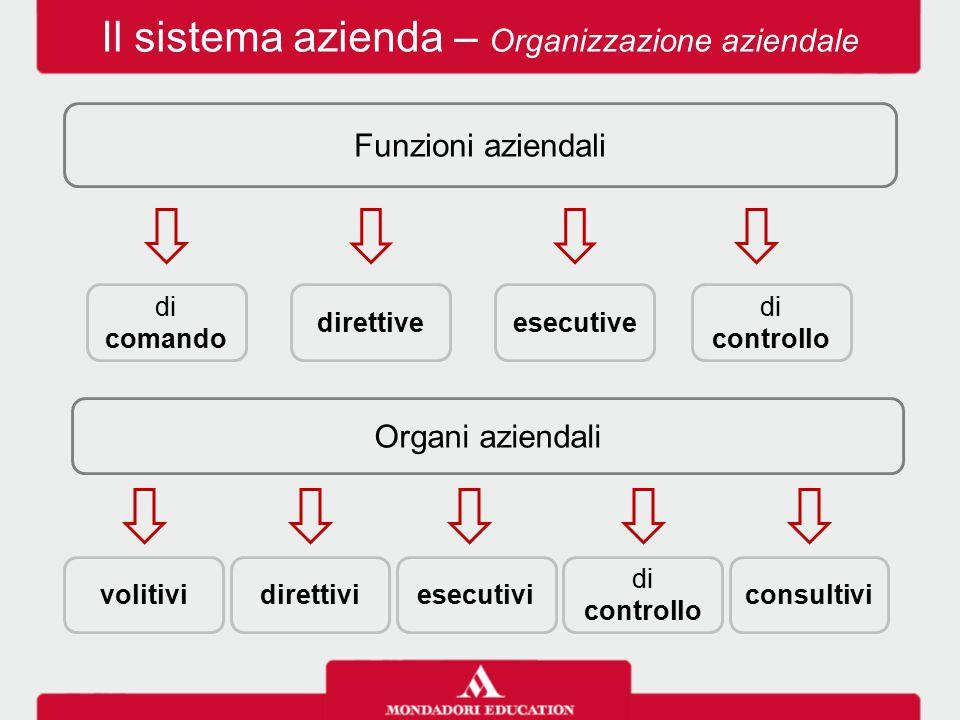 Il sistema azienda – Organizzazione aziendale Funzioni aziendali di controllo esecutivedirettive di comando Organi aziendali consultivi di controllo e
