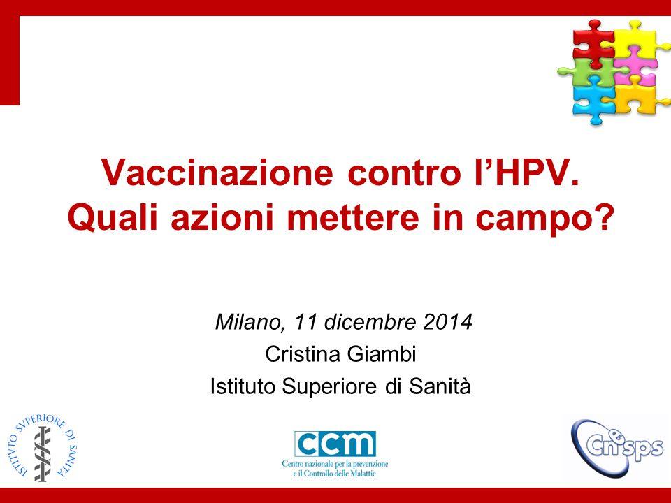Indagine famiglie Materiale su comunicazione HPV Indagine ASL/Regioni su campagne vaccinali Focus group operatori sanitari Indagine operatori sanitari Focus group studentesse 1.