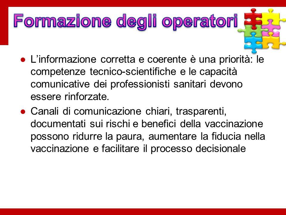 ●L'informazione corretta e coerente è una priorità: le competenze tecnico-scientifiche e le capacità comunicative dei professionisti sanitari devono e