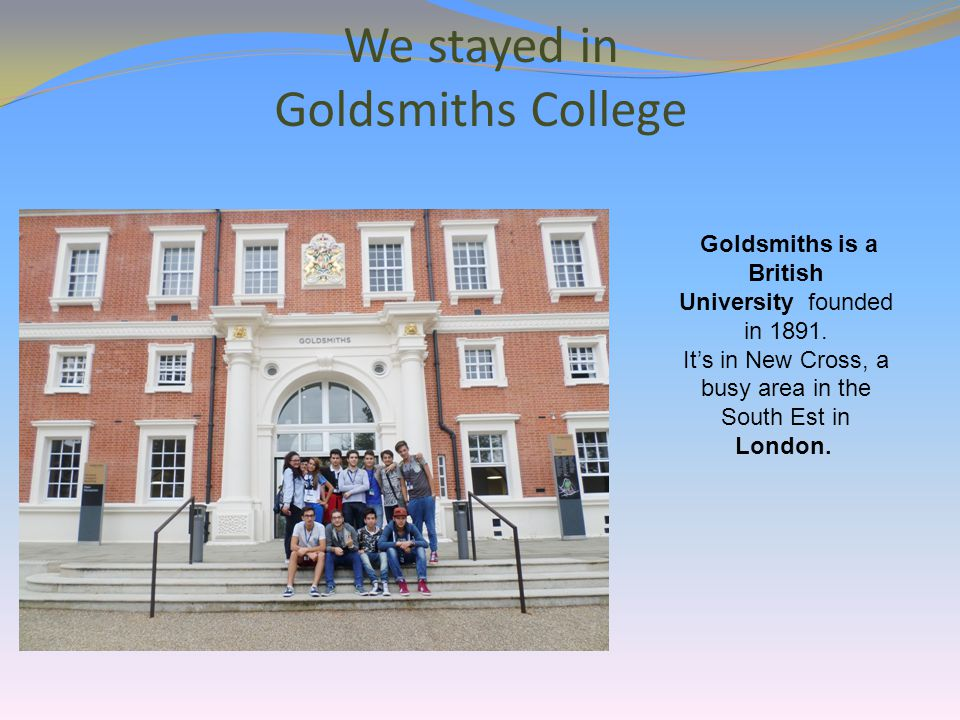 Here we are outside Goldsmiths College on the grass.