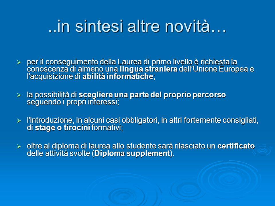 ..in sintesi altre novità…  per il conseguimento della Laurea di primo livello è richiesta la conoscenza di almeno una lingua straniera dell'Unione E