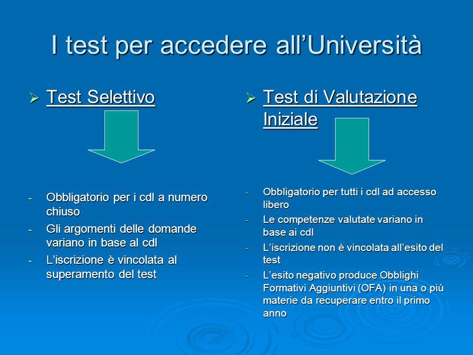 I test per accedere all'Università  Test Selettivo - Obbligatorio per i cdl a numero chiuso - Gli argomenti delle domande variano in base al cdl - L'iscrizione è vincolata al superamento del test  Test di Valutazione Iniziale - Obbligatorio per tutti i cdl ad accesso libero - Le competenze valutate variano in base ai cdl - L'iscrizione non è vincolata all'esito del test - L'esito negativo produce Obblighi Formativi Aggiuntivi (OFA) in una o più materie da recuperare entro il primo anno