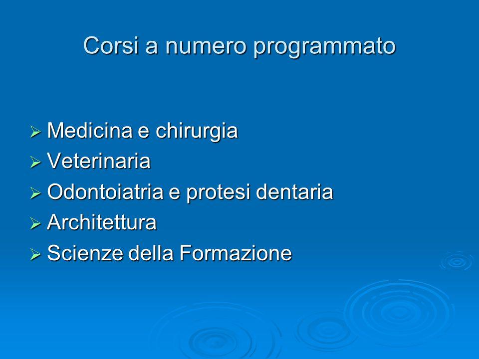Corsi a numero programmato  Medicina e chirurgia  Veterinaria  Odontoiatria e protesi dentaria  Architettura  Scienze della Formazione