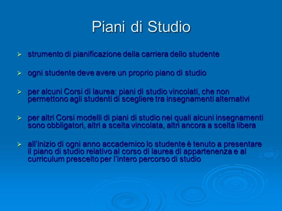 Piani di Studio  strumento di pianificazione della carriera dello studente  ogni studente deve avere un proprio piano di studio  per alcuni Corsi d