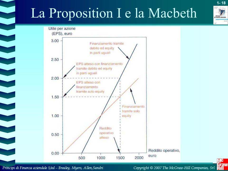 1- 18 Copyright © 2007 The McGraw-Hill Companies, SrlPrincipi di Finanza aziendale 5/ed – Brealey, Myers, Allen,Sandri La Proposition I e la Macbeth