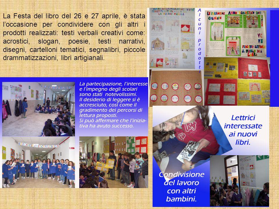 La Festa del libro del 26 e 27 aprile, è stata l'occasione per condividere con gli altri i prodotti realizzati: testi verbali creativi come: acrostici