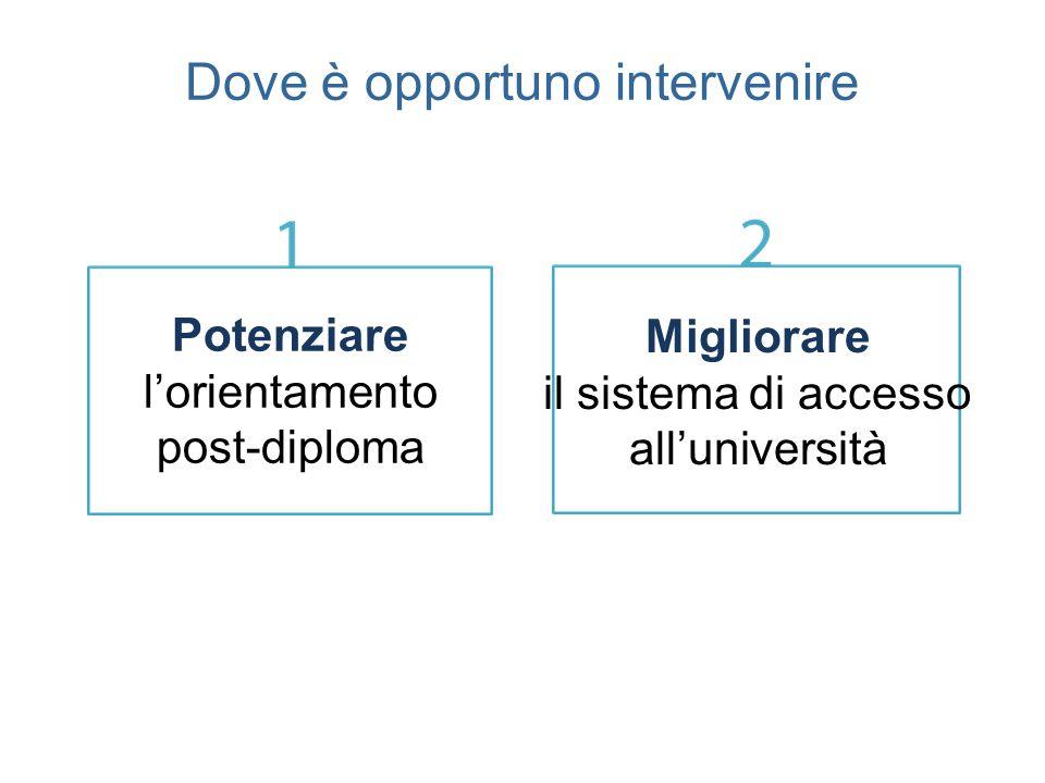 Dove è opportuno intervenire Migliorare il sistema di accesso all'università Potenziare l'orientamento post-diploma