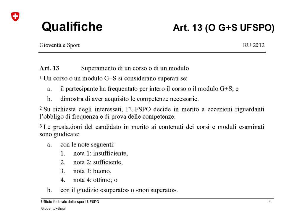 4 Ufficio federale dello sport UFSPO Gioventù+Sport Qualifiche Art. 13 (O G+S UFSPO)