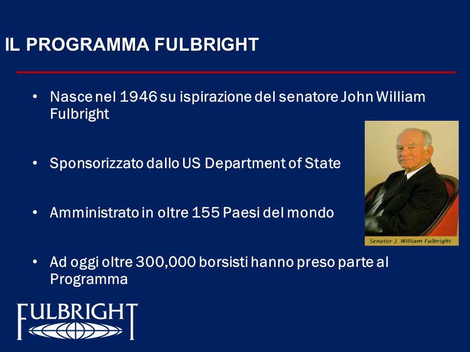 IL PROGRAMMA FULBRIGHT Nasce nel 1946 su ispirazione del senatore John William Fulbright Sponsorizzato dallo US Department of State Amministrato in oltre 155 Paesi del mondo Ad oggi oltre 300,000 borsisti hanno preso parte al Programma