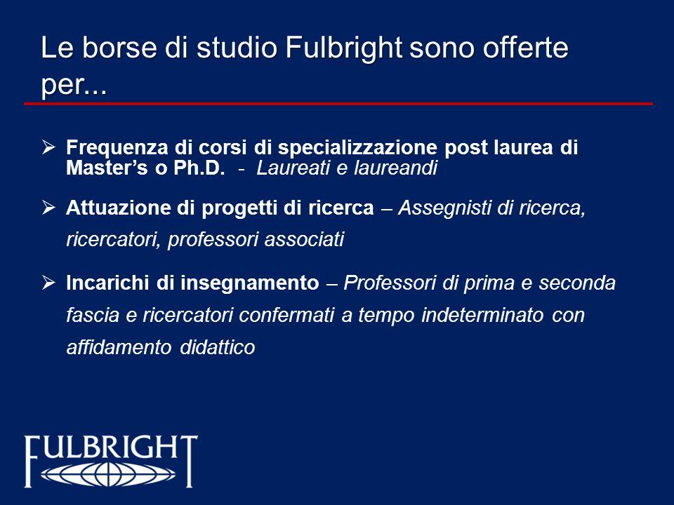 Le borse di studio Fulbright sono offerte per...