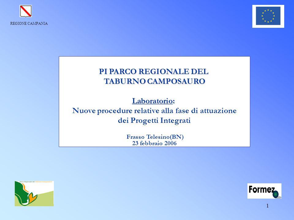 REGIONE CAMPANIA 1 PI PARCO REGIONALE DEL TABURNO CAMPOSAURO Laboratorio: Nuove procedure relative alla fase di attuazione dei Progetti Integrati Fras