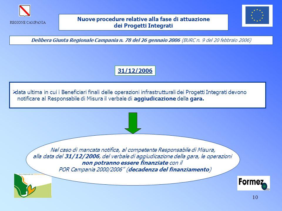 REGIONE CAMPANIA 10  data ultima in cui i Beneficiari finali delle operazioni infrastrutturali dei Progetti Integrati devono notificare al Responsabi